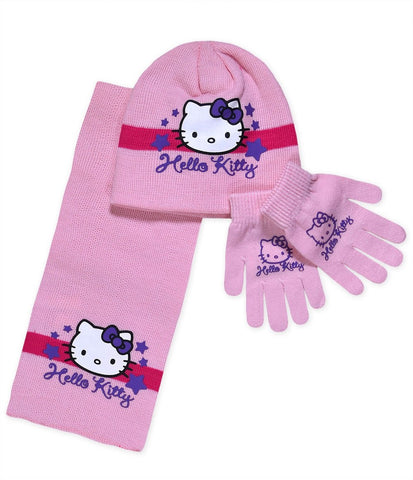 Official Girls Sanrio Hello Kitty Gloves ,Beanie Hat & Scarf Set One size 3-10 Years - Character Direct