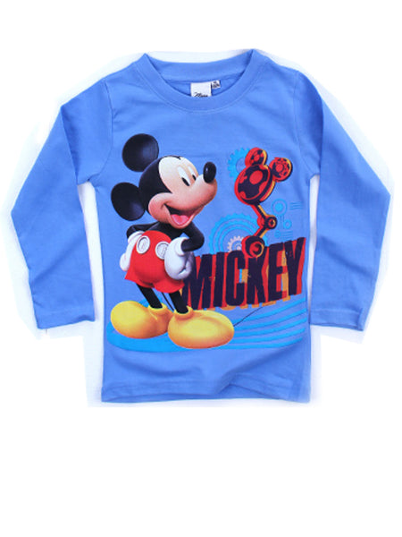 Disney Boys Mickey Mouse Print Light Blue Top T-Shirt Age 3 to 8 Years - Character Direct
