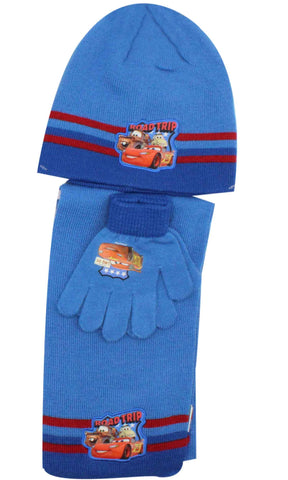 Official Boys Disney Cars Hat Gloves and Beanie Hat Set One size 3-7 Years
