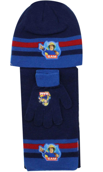 Official Boys Fireman Sam Hat Gloves and Beanie Hat Set One size 3-7 Years - Character Direct