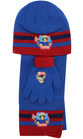 Official Boys Fireman Sam Hat Gloves and Beanie Hat Set One size 3-7 Years