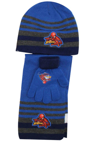 Official Boys Spiderman Hat Gloves and Beanie Hat Set One size 3-7 Years