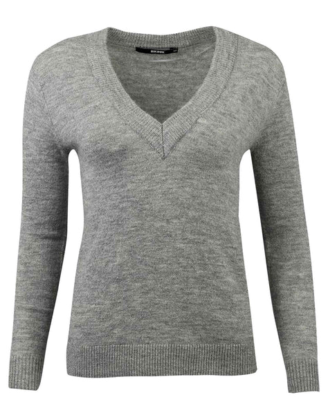 Ladies Wool Blend V-neck Jumper Sweater UK Size 6-12 - Character Direct