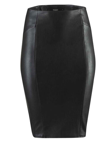 Ladies Faux Leather Pencil Skirt UK Size 6-12