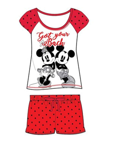Official Licensed Ladies Mickey & Minnie Mouse Short Pyjamas UK Size 8 to 22