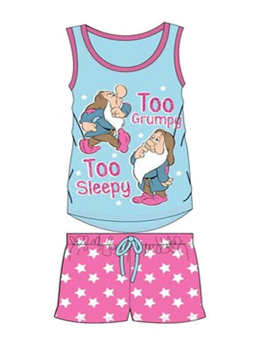 Official Licensed Ladies Snow White Dwarfs Short Pyjamas UK Size 8 to 22
