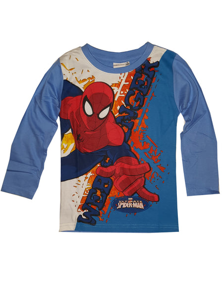 Marvel Spiderman Boys Long Sleeve Dark Blue T-Shirt Top Age 3 to 8 Years - Character Direct