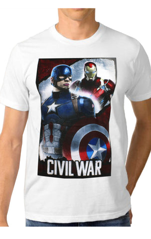 Mens Official Avengers Captain America Civil War Print T-Shirt Top Size S,M,L,XL - Character Direct