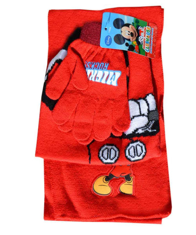 Official Boys Disney Mickey Mouse Beanie Hat, Glove and Scarf Set One size 3-7 Years - Character Direct