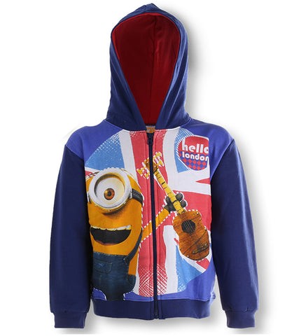 Despicable Me - Boys Minions Zipped Hooded Blue Fleece Jumper Jacket Hoodie 4 to 12 Years - Character Direct