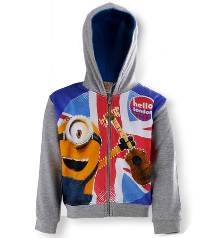 Despicable Me - Boys Minions Zipped Hooded Grey Fleece Jumper Hoodie Jacket 4 to 12 Years - Character Direct