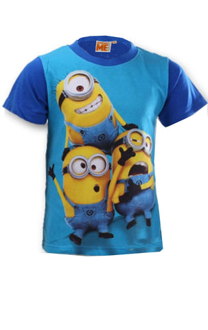 Despicable Me Boys Minions Short Sleeve T-shirt Top Age 6 to 12 Years in Dark Blue - Character Direct