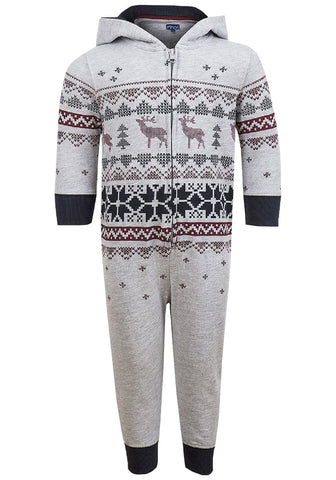 Boys Minoti Reindeer Fair isle Print Onesies 1.5 to 4 Years - Character Direct