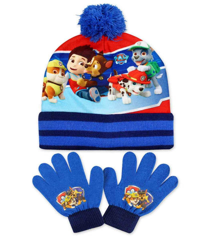 Official Boys Paw Patrol Gloves and Beanie Hat Set One size 3-8 Years