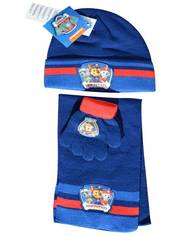 Official Boys Paw Patrol Beanie Hat, Glove and Scarf Set One size 3-7 Years