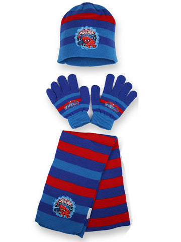 Boys Disney Official Licensed Spiderman Gloves , Beanie Hat & Scarf Set One size 4-10 Years - Character Direct