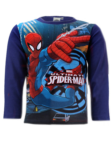 Marvel Spiderman Boys Short Sleeve Blue Sleeve T-Shirt Top Age 3 to 8 Years Blue Sleeve - Character Direct