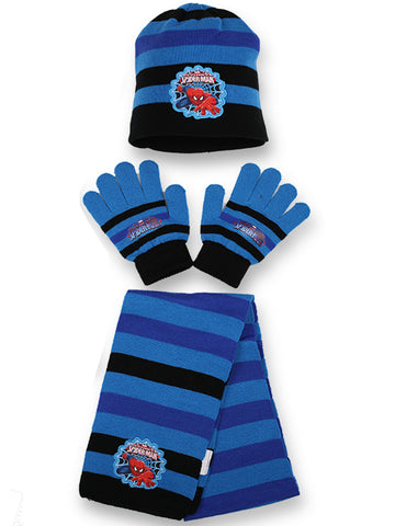 Boys Disney Official Licensed Spiderman Gloves , Beanie Hat & Scarf Set - Character Direct