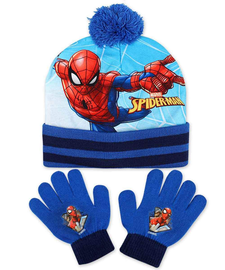 747a2905 Official Boys Marvel Spiderman Gloves and Beanie Hat Set One size 3-8 – Character  Direct