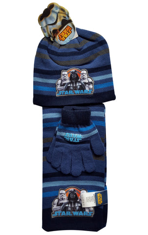 Boys Official Licensed Star Wars Gloves , Beanie Hat & Scarf Set One size 4-10 Years - Character Direct