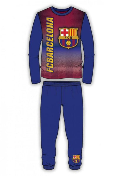 Boys Barcelona FC Long Length Snug Fit Football Pyjama Age 4 to 12 Years - Character Direct