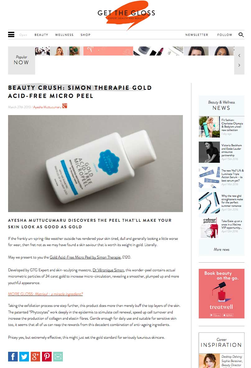Press release for the Gold Acid-Free Micropeel in the Simon Therapie range by Dr Veronique Simon