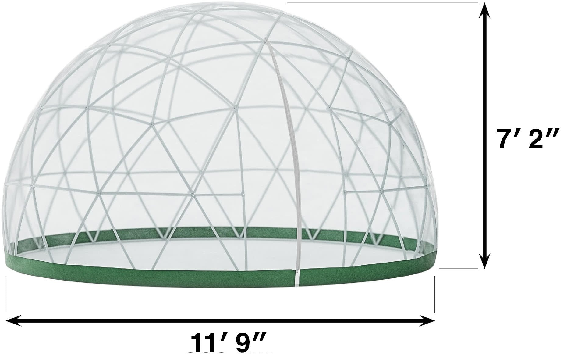 Gardenigloo has a diameter of 11′ 9″ and a height of max. 7′ 2″. Two zipper screened vents ensure optimal airflow.