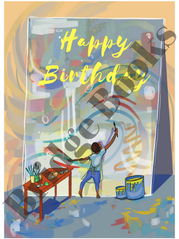 Happy birthday artist card (boy)