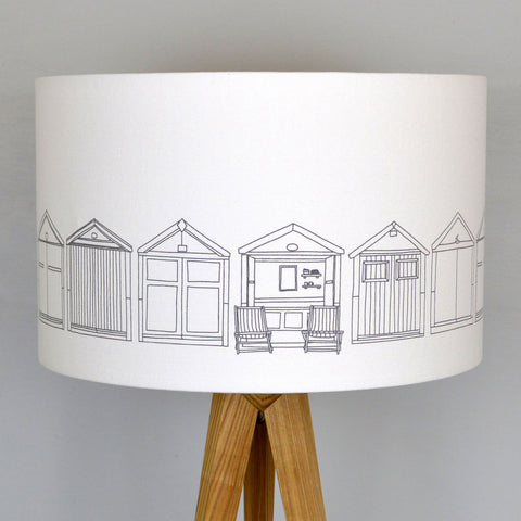 Beach Hut Grey Lampshade