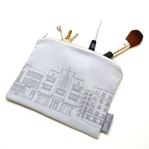 Deco Building Zip Purse - Grey Linen