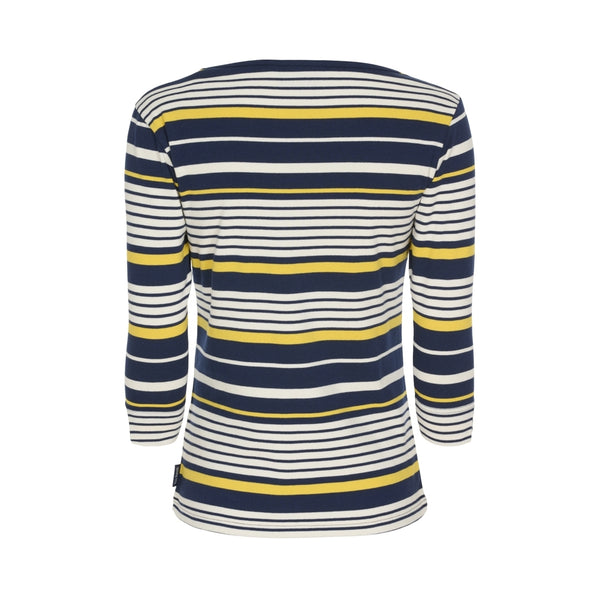 Vanessa Stribet Langærmet Strik Sweater - Sr Navy / Pearl / Gul
