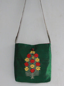 SLING TOTE BAG | EMERALD | FLORAL BLOCK