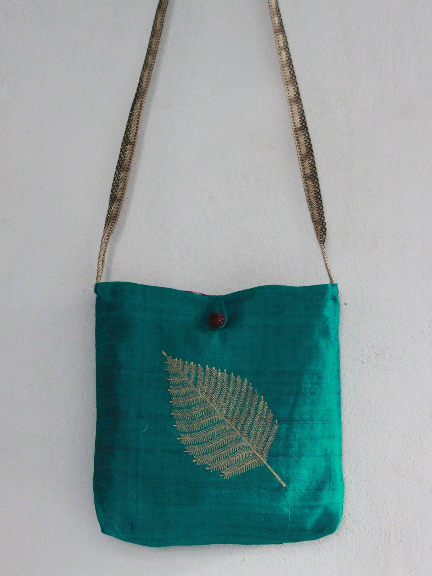 SLING TOTE BAG | TEAL | FERN LEAF