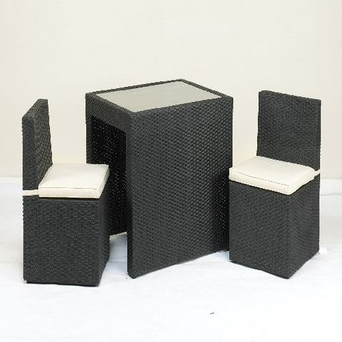Cannes Ebony Black 2 Seater Cube Breakfast Set Including Cushions