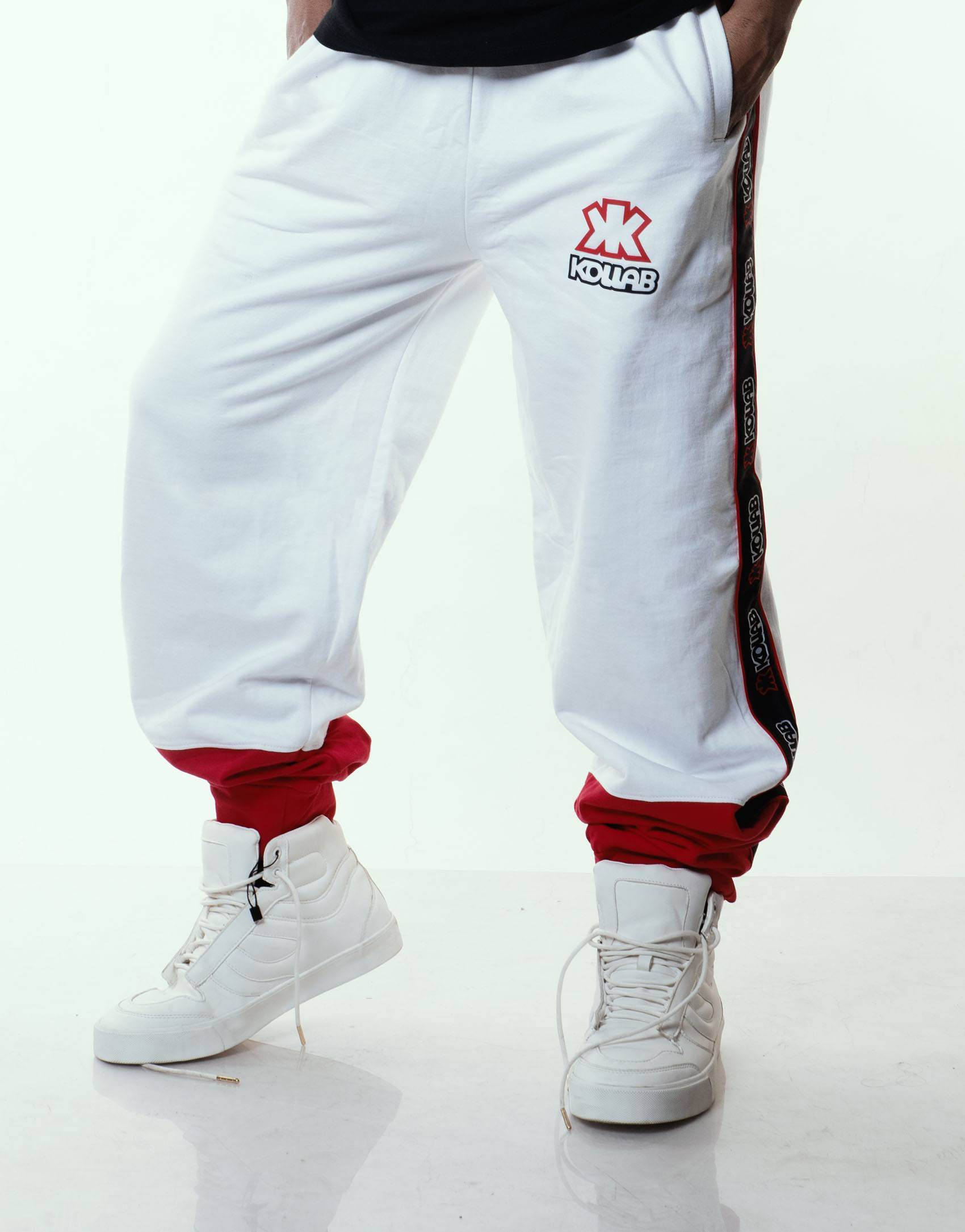 Kollab® Bi-Tone Sweatpants - White-Red | Kollab Lifestyle