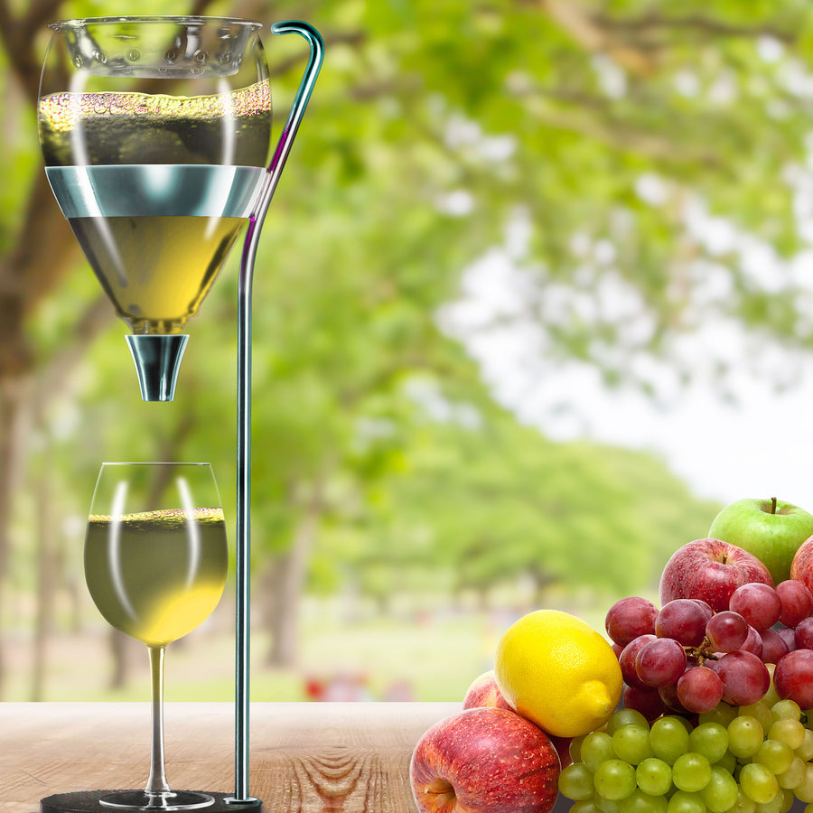 wine table tower with grapes