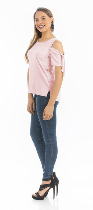 Pale Blush Cold Bow Top | NR-314