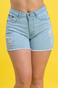 High Rise Destroyed Denim Shorts | 2640 S