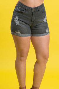 High Rise Destroyed Denim Shorts | 2641 S