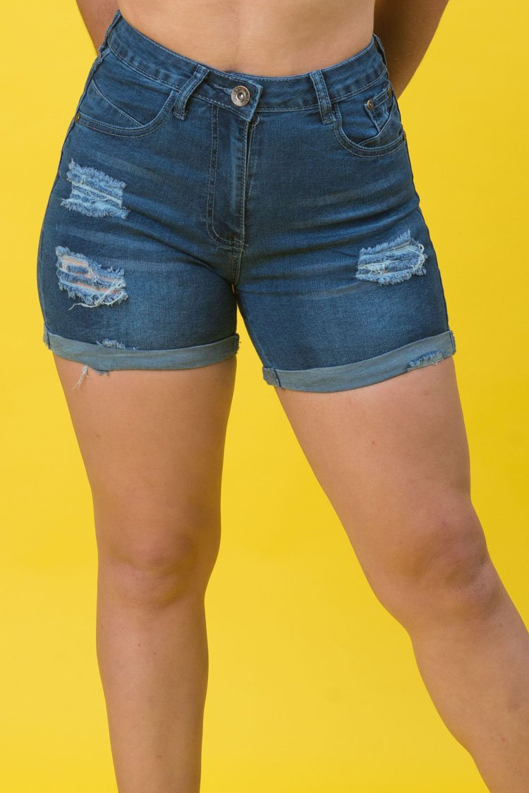 High Rise Destroyed Denim Shorts | 2643 S