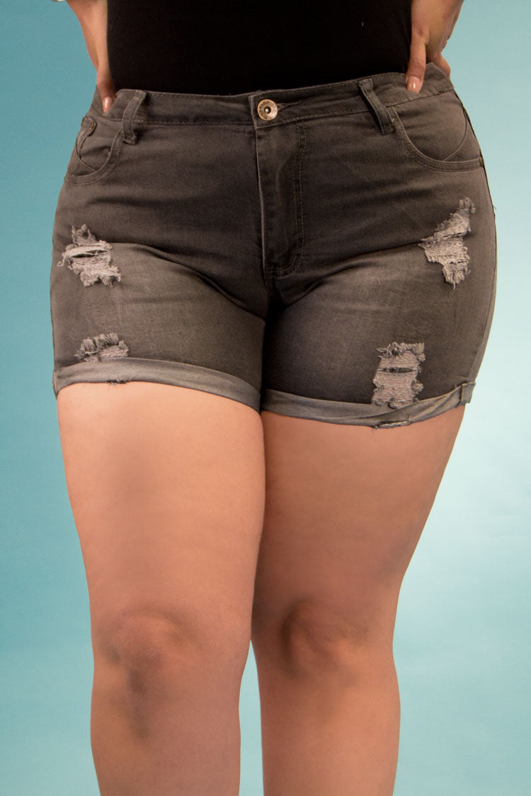 High Rise Destroyed Denim Shorts | 2641 XS