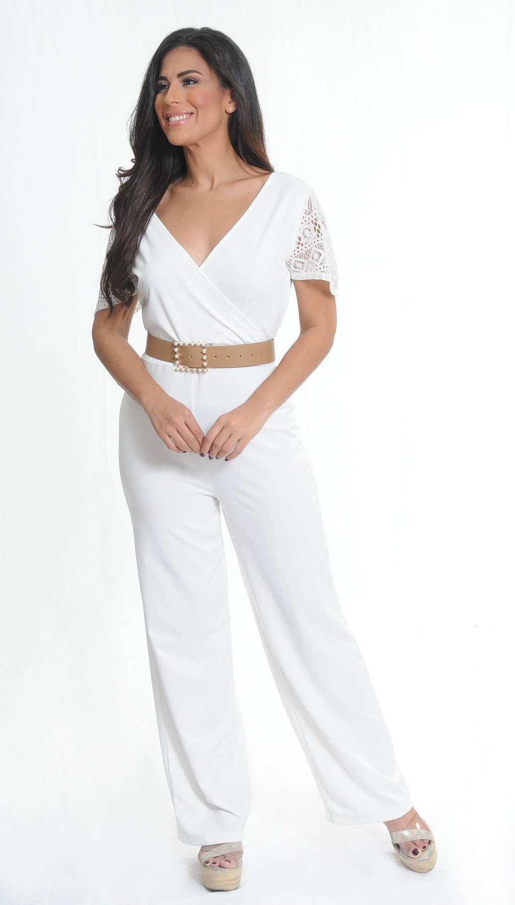 White Lace Jumpsuit | H-235