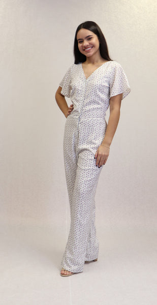 White Printed Jumpsuit | 447