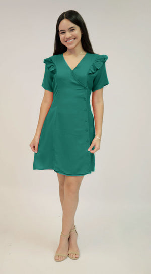 Green Ruffle Dress | H-456