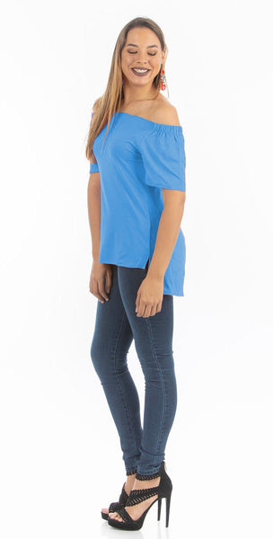 Brilliant Blue Off Shoulder Basic Top | NR-311