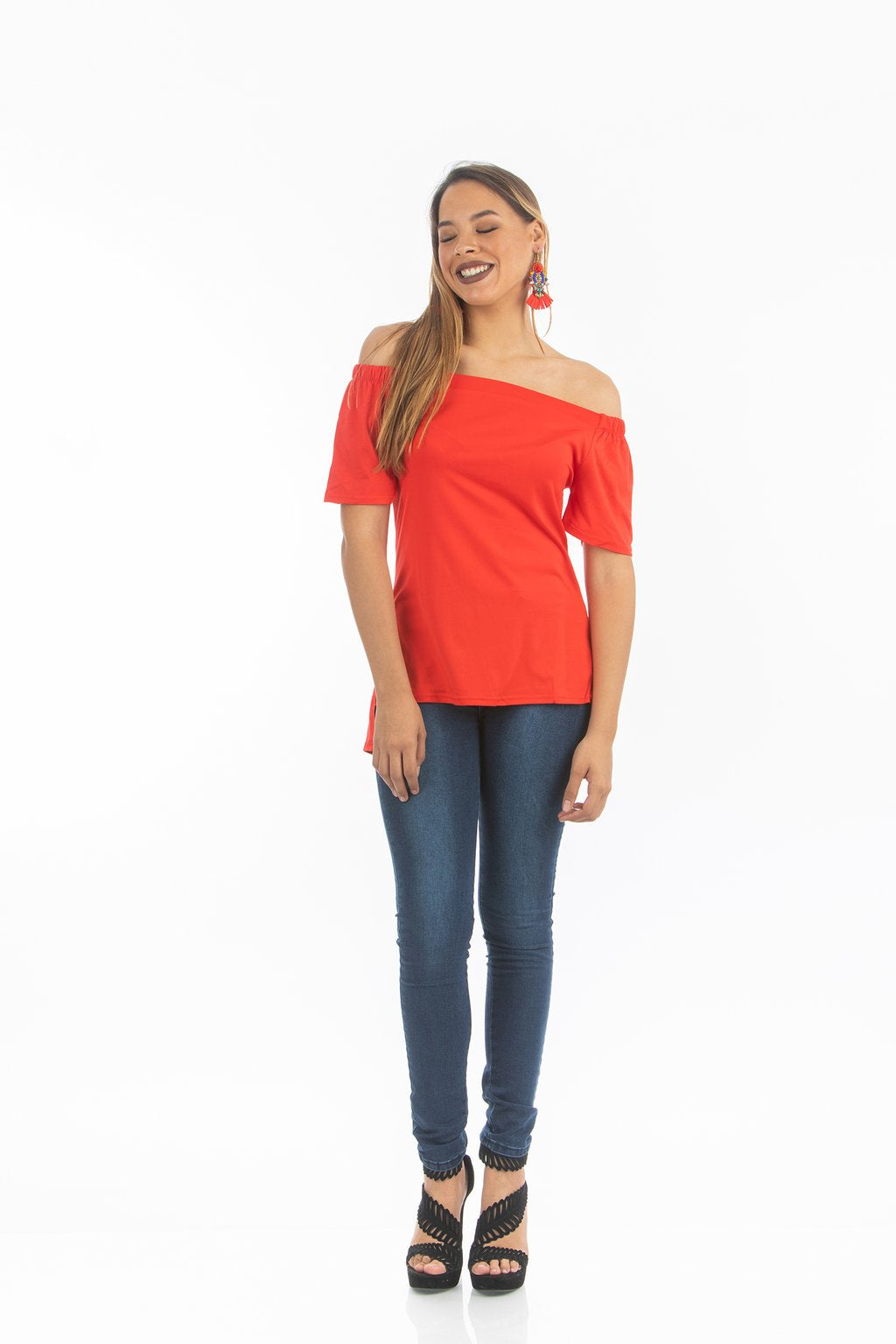 Red Off Shoulder Basic Top | NR-311
