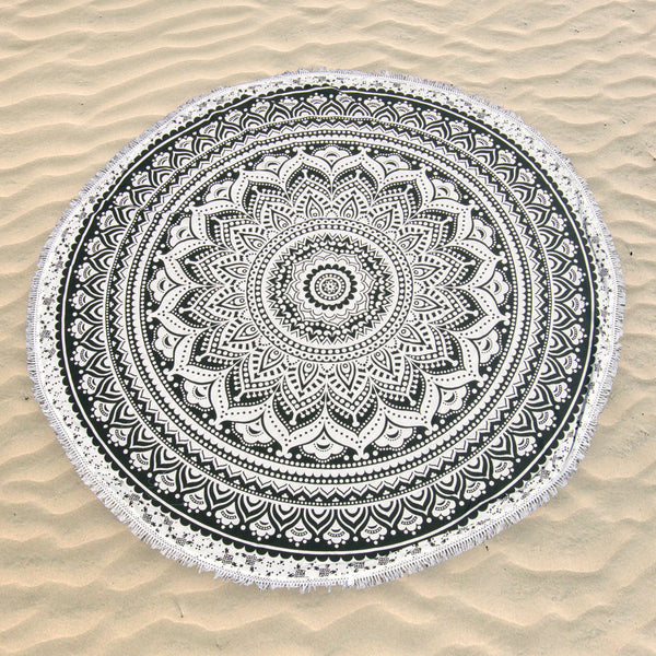Mandala Black & White Round Beach Blanket | H-012