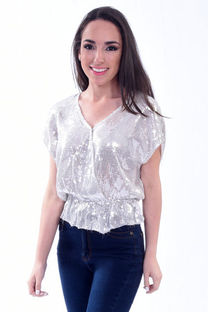 Silver Sequins Top | H-1037