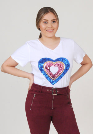 White Heart Sequin Tee | H-1057