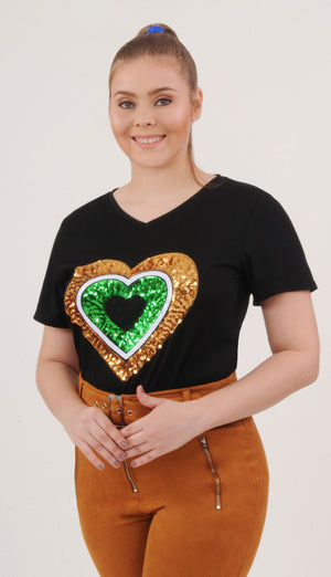 Black Heart Sequin Tee | H-1057